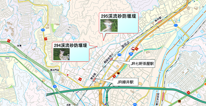 広島西部山系緑井地区砂防堰堤工事 位置図
